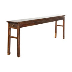 Chinese Qing Dynasty 19th Century Long Altar Console Table with Original Patina