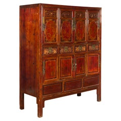 Chinese Qing Dynasty 19th Century Red Cabinet with Eight Doors and Four Drawers