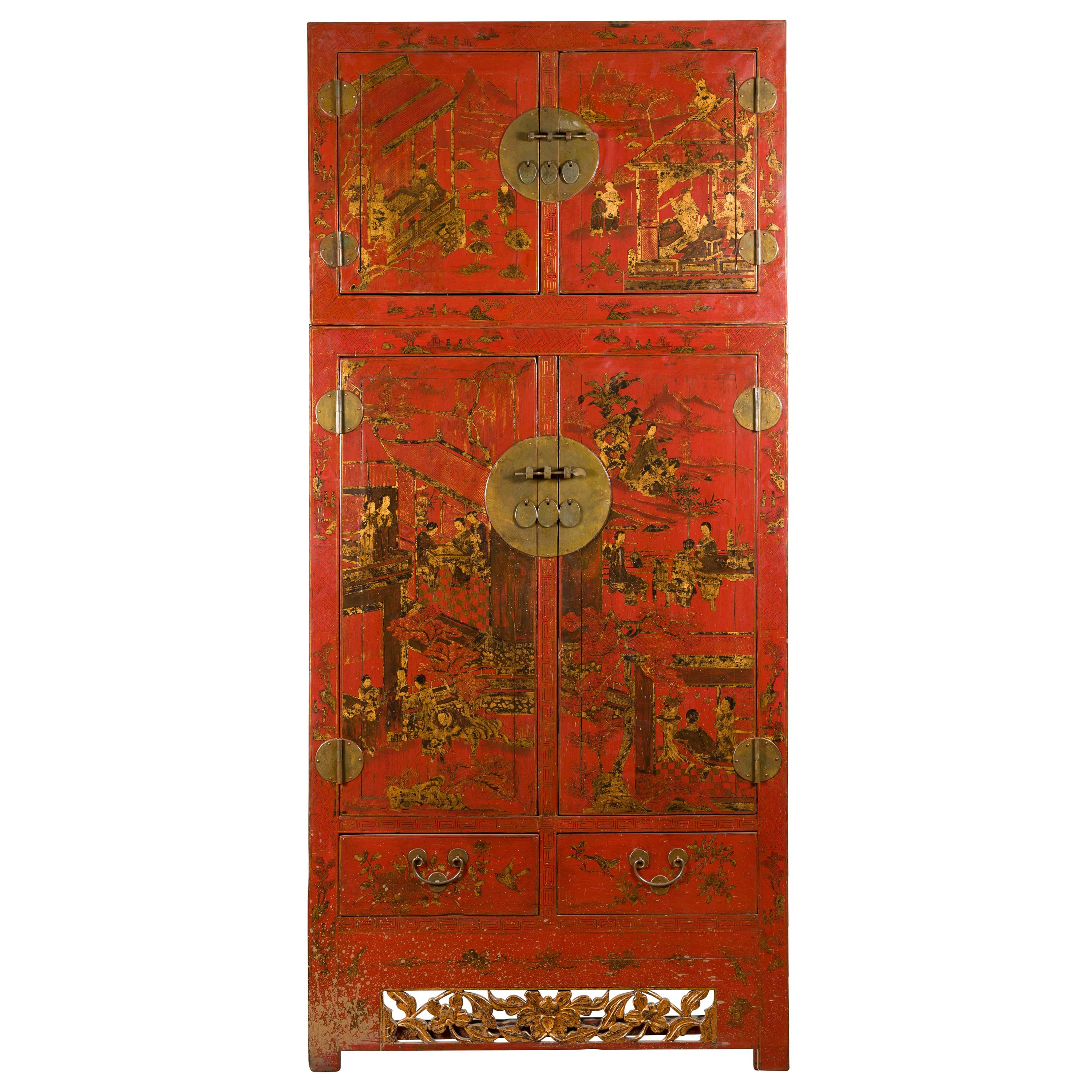 Chinese Qing Dynasty 19th Century Red Lacquer Cabinet with Chinoiserie Décor
