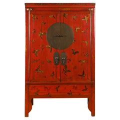 Chinese Qing Dynasty 19th Century Red Lacquer Wedding Cabinet with Butterflies
