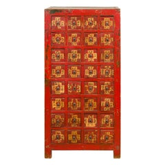 Chinese Qing Dynasty 19th Century Red Lacquered and Painted Apothecary Chest