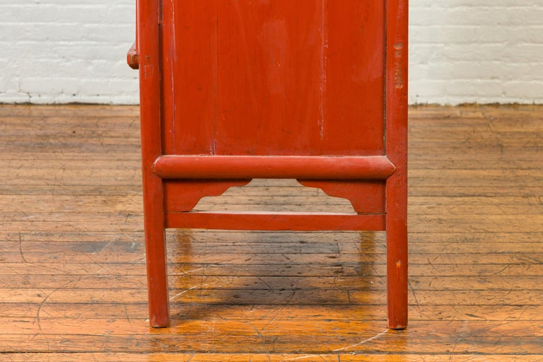 Chinese Qing Dynasty 19th Century Red Lacquered Armoire with Bronze Medallion For Sale 8