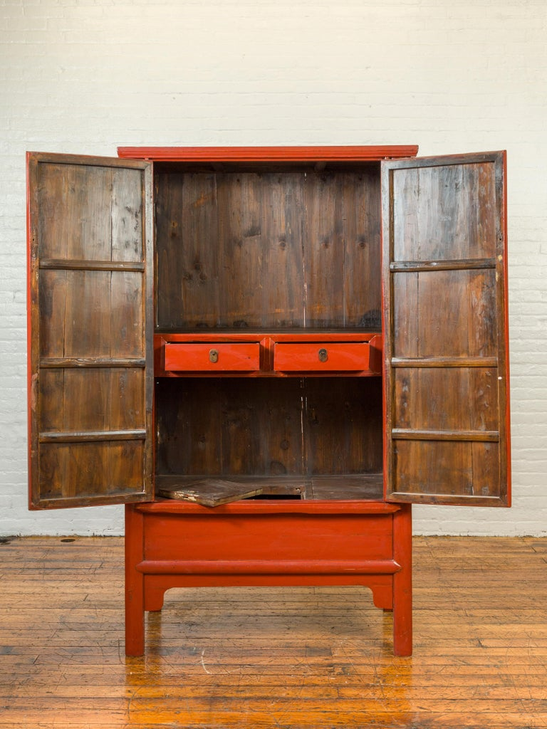 Chinese Qing Dynasty 19th Century Red Lacquered Armoire with Bronze Medallion For Sale 1