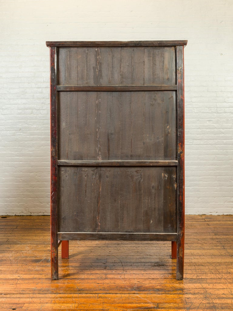 Chinese Qing Dynasty 19th Century Red Lacquered Armoire with Bronze Medallion For Sale 6