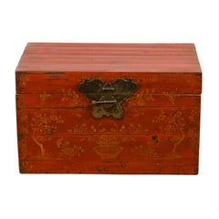 Chinese Qing Dynasty 19th Century Red Lacquered Blanket Chest with Floral Décor