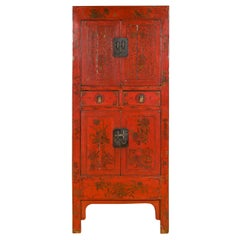 Chinese Qing Dynasty 19th Century Red Lacquered Cabinet with Gold Floral Motifs