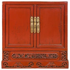 Chinese Qing Dynasty 19th Century Shanxi Red Lacquered Cabinet with Carved Birds