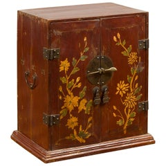 Chinese Qing Dynasty 19th Century Side Cabinet with Painted Floral Decor