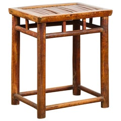 Chinese Qing Dynasty 19th Century Side Table with Split Bamboo Top and Patina