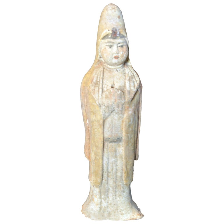 Chinese Qing Dynasty 19th Century Small Hand-Painted Terracotta Priestess Statue For Sale