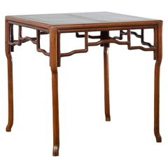 Chinese Qing Dynasty 19th Century Square Top Game Table with Openwork Apron