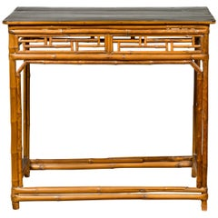 Chinese Qing Dynasty Bamboo Altar Console Table with Geometric Patterns