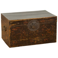Chinese Qing Dynasty Blanket Chest with Rubbed Chinoiserie and Bronze Hardware