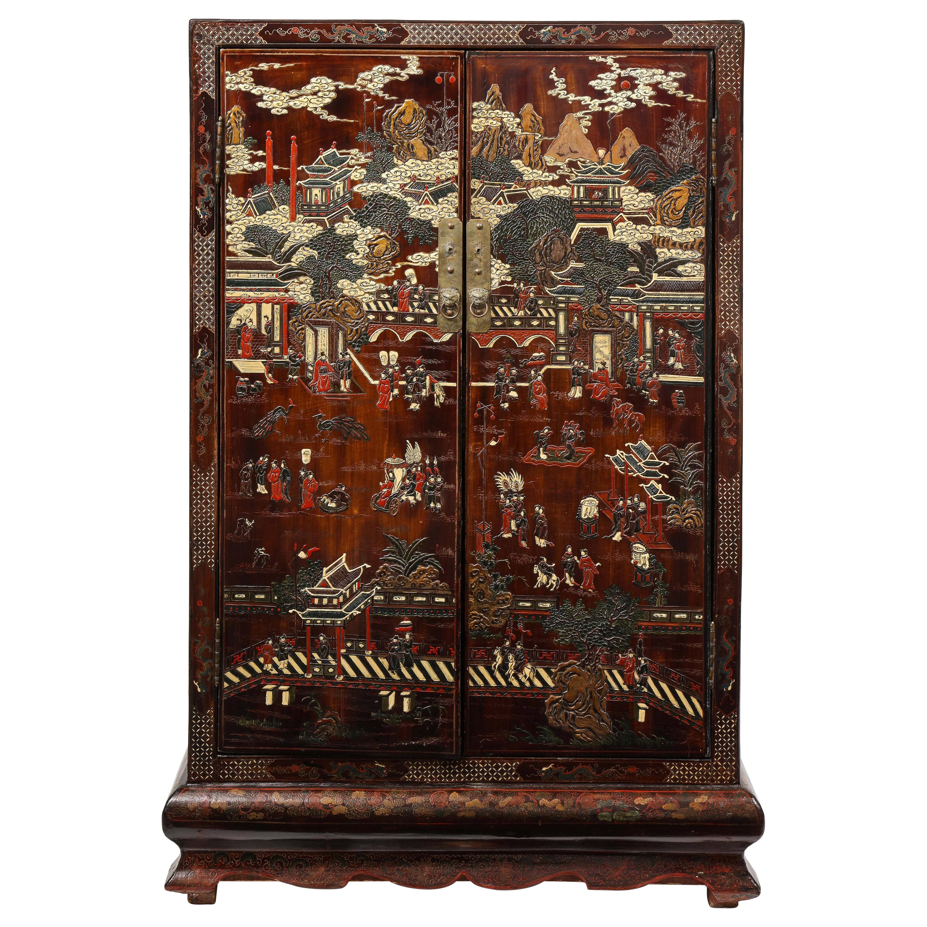 Chinese Qing Dynasty Brown Coromandel Lacquer Cabinet