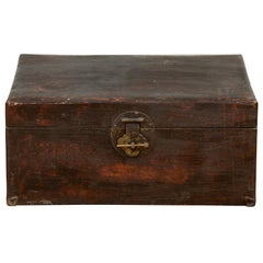 Chinese Qing Dynasty Camphor Blanket Chest with Distressed Patina and Brass Lock