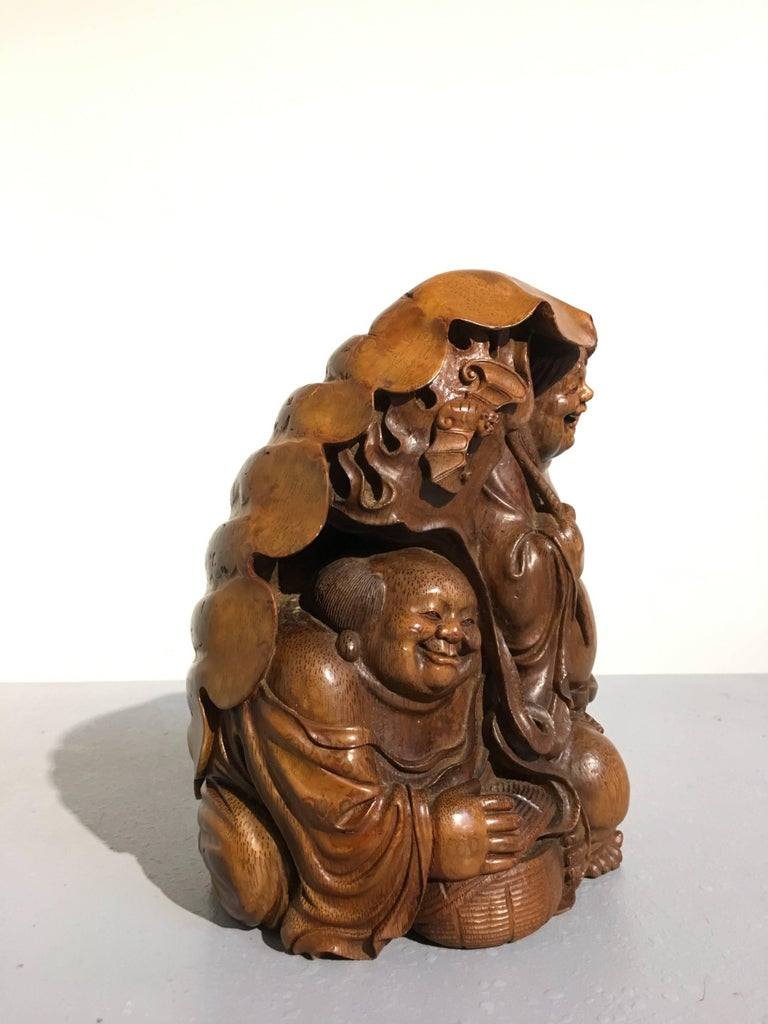 Chinese Qing Dynasty Carved Bamboo HeHe ErXian Group, 19th Century For Sale 1