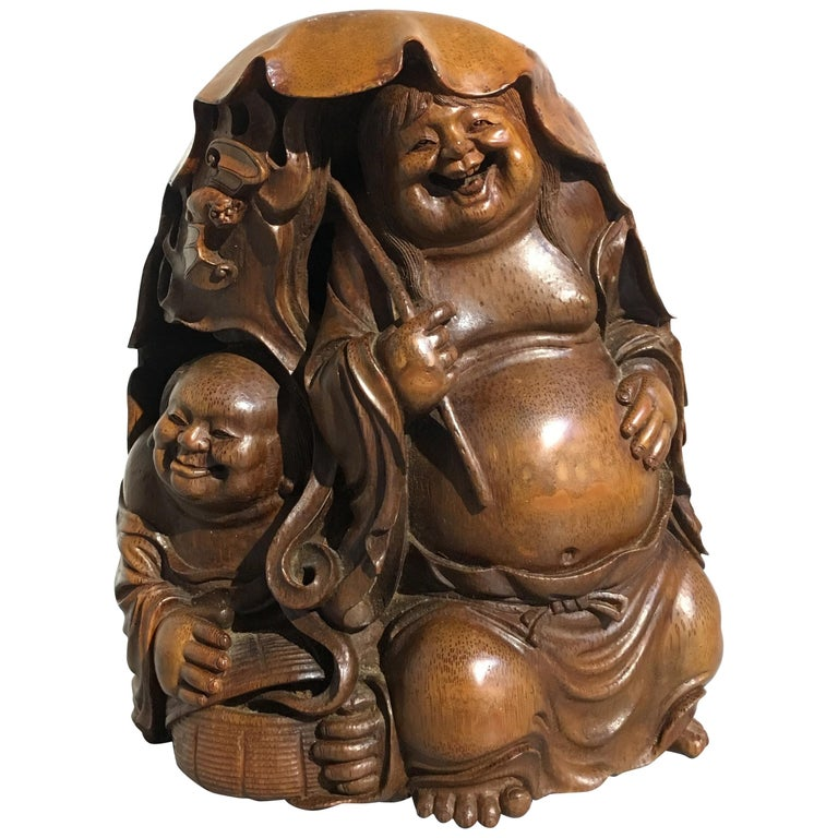 Chinese Qing Dynasty Carved Bamboo HeHe ErXian Group, 19th Century For Sale