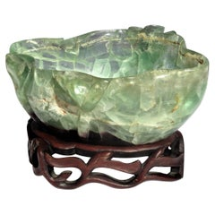 Chinese Qing Dynasty Carved Fluorite Bowl on Stand