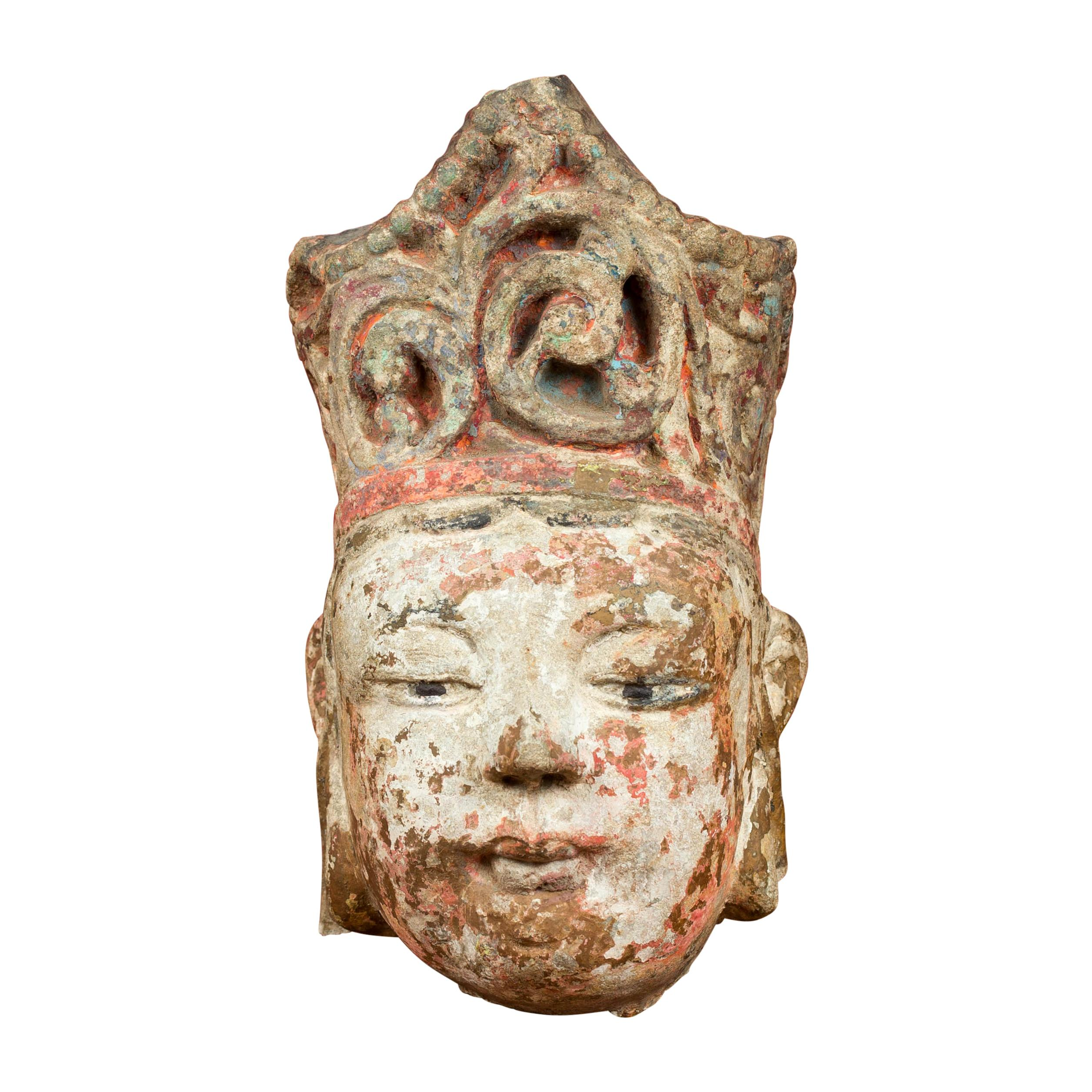 Chinese Qing Dynasty Carved Stone Court Figure Sculpture with Tall Headdress