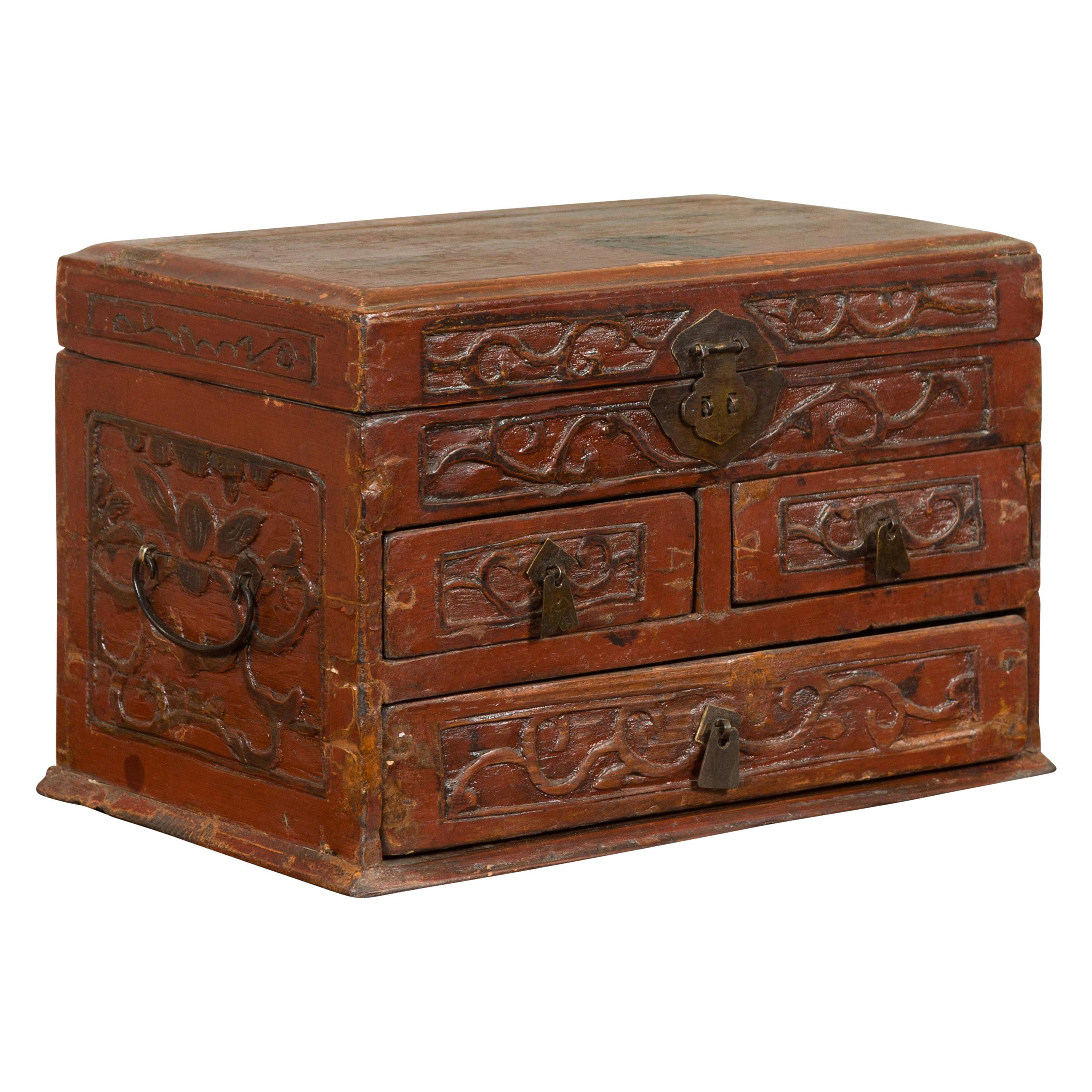 Chinese Qing Dynasty Carved Wooden Jewelry Chest with Lidded Top and Drawers
