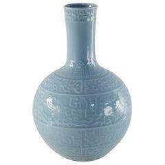 Chinese Qing Dynasty Cornflower Blue Patterned Porcelain Vase