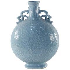 Chinese Qing Dynasty Cornflower Blue Porcelain Moonflask Vase