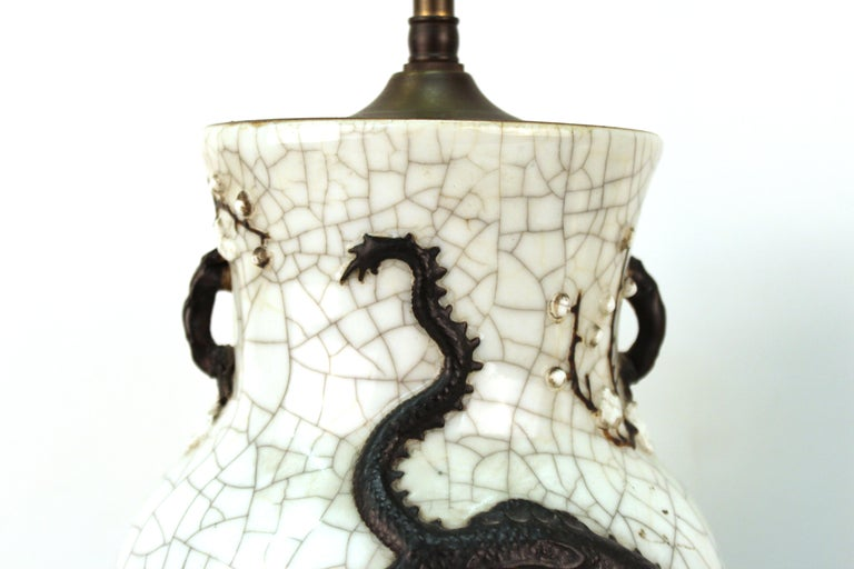 Chinese Qing Dynasty Crackle Glaze Dragon Vase Table Lamps 5