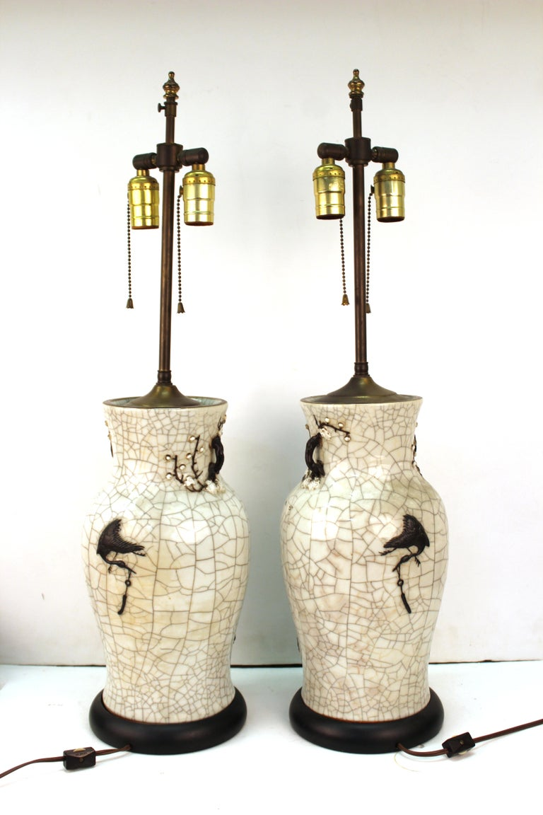 Chinese Qing Dynasty Crackle Glaze Dragon Vase Table Lamps In Good Condition In New York, NY