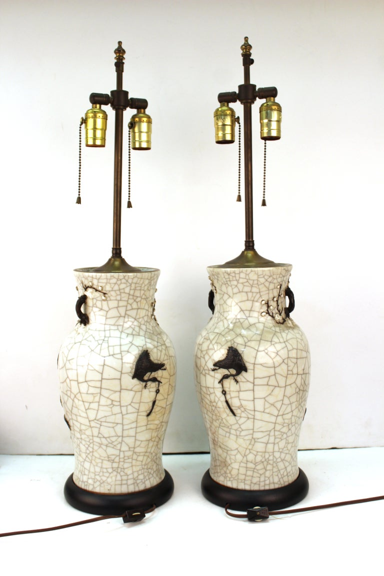 Late 19th Century Chinese Qing Dynasty Crackle Glaze Dragon Vase Table Lamps