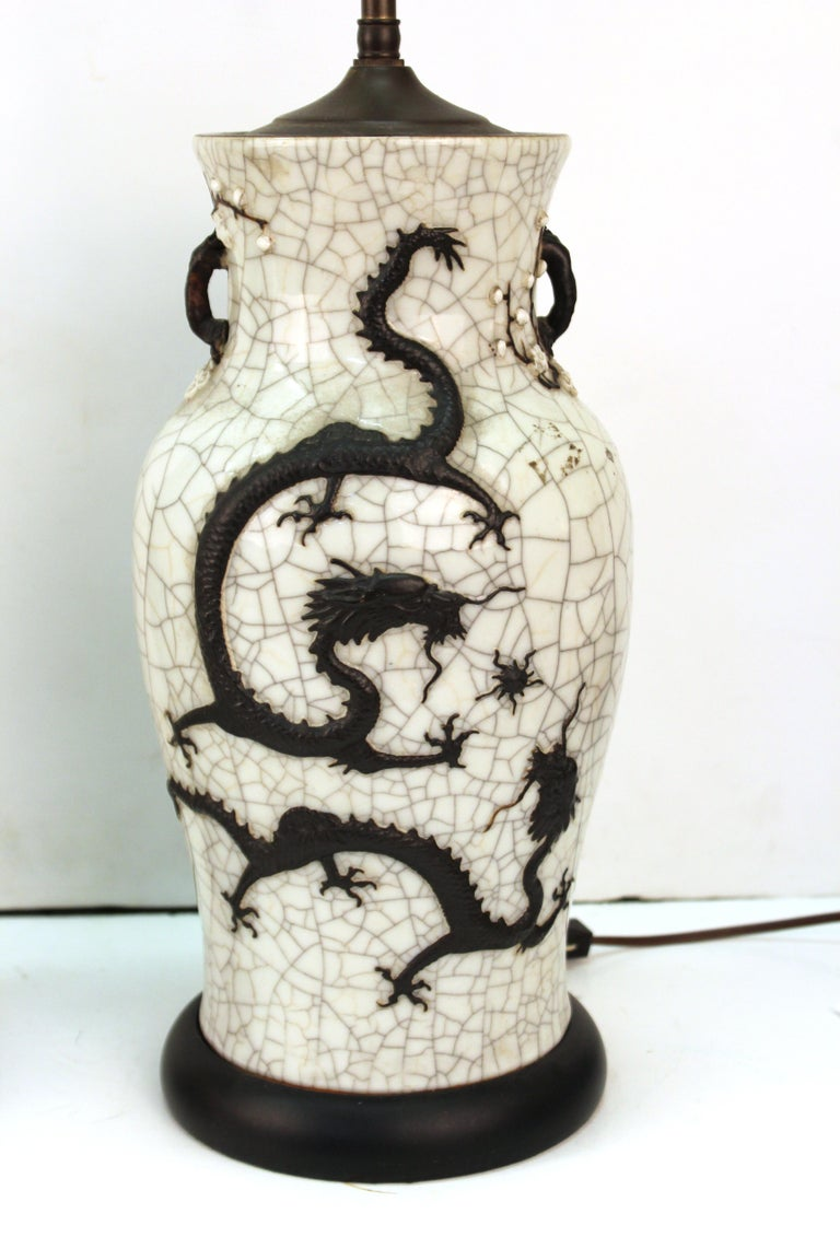 Ceramic Chinese Qing Dynasty Crackle Glaze Dragon Vase Table Lamps