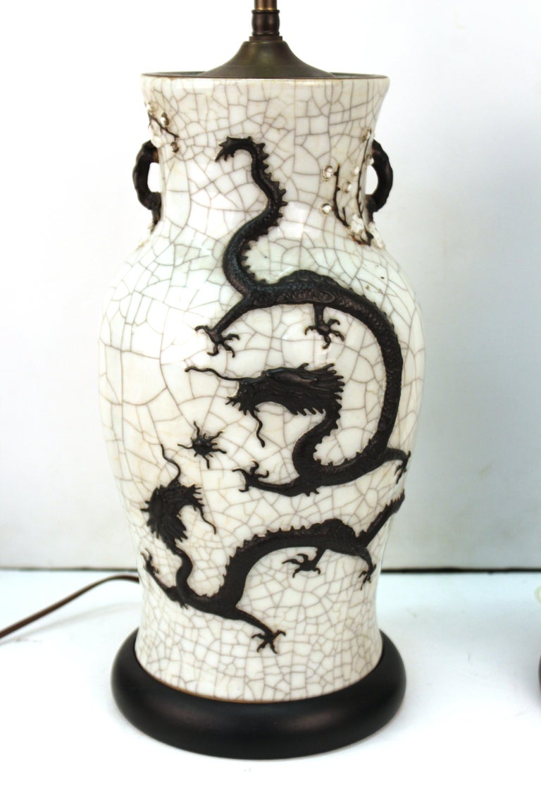 Chinese Qing Dynasty Crackle Glaze Dragon Vase Table Lamps 1