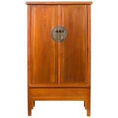 Chinese Qing Dynasty Elmwood Cabinet with Bronze Medallion and Inner Drawers