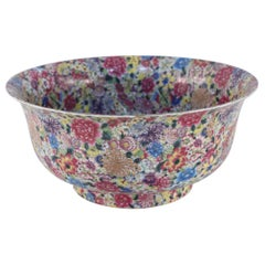 Chinese Qing Dynasty Famille Rose Thousand Flower Pattern Decorative Bowl