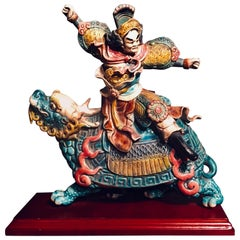Chinese Early 20th C. Glazed Porcelain Roof Tile of a Warrior on a Dragon Turtle