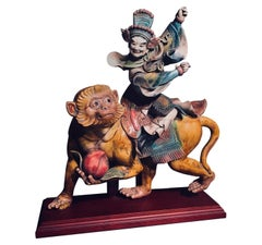 Chinese Early 20th C. Glazed Porcelain Roof Tile of a Warrior Riding a Monkey