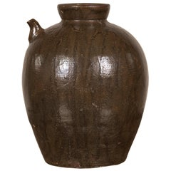 Chinese Qing Dynasty Glazed Water Jug with Petite Spout from the 19th Century