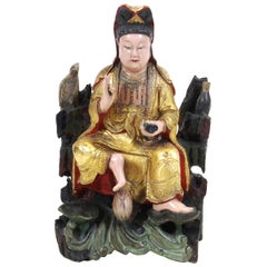 Chinese Qing Dynasty Goddess Quan Yin Wood Sculpture