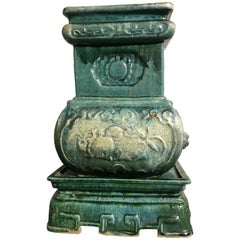 Chinese Qing Dynasty Green Glazed Pottery Incense Burner, Dated 1863