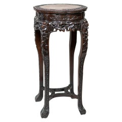 Chinese Qing Dynasty Intricately Carved Hard Wood Pedestal with Marble Inset