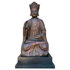 Chinese Qing Dynasty Lacquered Wood Guanyin, 18th Century, Southern China