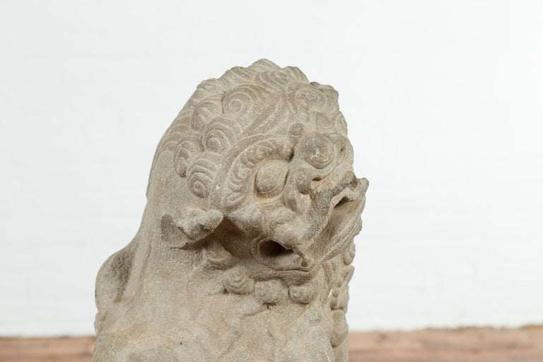 Chinese Qing Dynasty Mid 19th Century Hand-Carved Foo Dog Temple Decoration For Sale 1