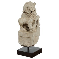 Chinese Qing Dynasty Mid 19th Century Hand-Carved Foo Dog Temple Decoration