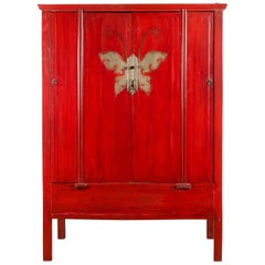 Chinese Qing Dynasty Ningbo Red Lacquered Cabinet with Butterfly Hardware