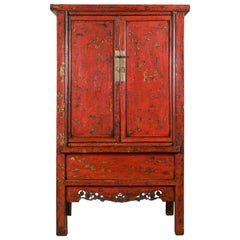 Chinese Qing Dynasty Original Red Lacquer Cabinet with Gilt Chinoiserie Decor