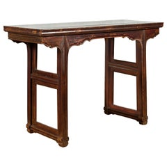 Chinese Qing Dynasty Period 19th Century Altar Console Table with Carved Apron