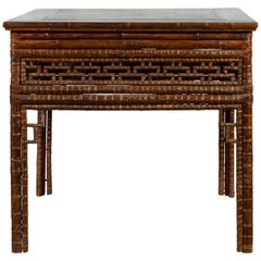 Chinese Qing Dynasty Period 19th Century Bamboo Hall Table with Fretwork Motifs