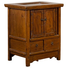 Chinese Qing Dynasty Period 19th Century Bedside Cabinet with Doors and Drawers