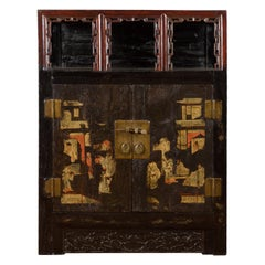 Chinese Qing Dynasty Period 19th Century Cabinet with Original Brown Lacquer