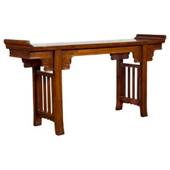 Chinese Qing Dynasty Period 19th Century Elm Console Table with Carved Spandrels
