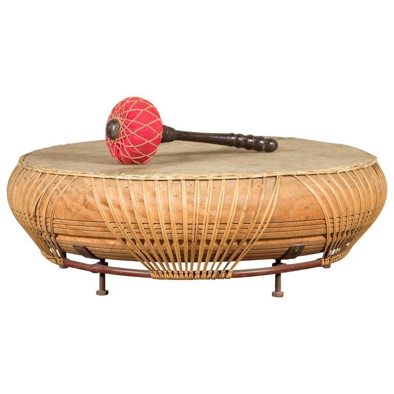 Chinese Qing Dynasty Period 19th Century Leather Drum with Its Wooden Mallet For Sale